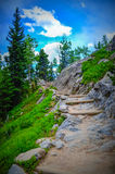 Hiking in Rocky mountains Royalty Free Stock Images