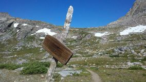 Hiking in Rocky Mountains. Hiking Shannon Pass in the Wind River Range of Wyoming royalty free stock photography