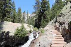 Hiking in Rocky Mountains Royalty Free Stock Image