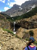 Hiking the rocky terrain of the Crypt Lake Trail, stock image