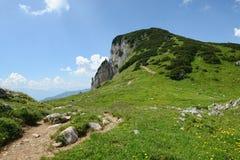Hiking in Rofan mountain aeria in Tyrol (Austria).  stock photo