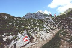 Hiking in Rofan mountain aeria in Tyrol (Austria). MAURACH, TYROL/ AUSTRIA JULY 22 2013: hiking in Rofan mountain aeria in Tyrol (Austria). retro retouch of stock photos