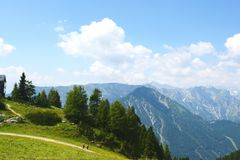 Hiking in Rofan mountain aeria in Tyrol (Austria). MAURACH, TYROL/ AUSTRIA JULY 22 2013: hiking in Rofan mountain aeria in Tyrol (Austria). retro retouch of stock images