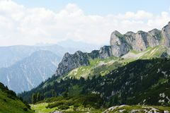 Hiking in Rofan mountain aeria in Tyrol (Austria). Retro retouch of image royalty free stock photography