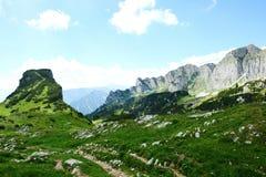 Hiking in Rofan mountain aeria in Tyrol (Austria). Retro retouch of image royalty free stock photos