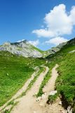 Hiking in Rofan mountain aeria in Tyrol (Austria). Retro retouch of image royalty free stock images