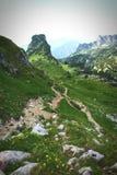 Hiking in Rofan mountain aeria in Tyrol (Austria). Retro retouch of image stock image