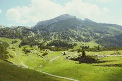 Hiking in Rofan mountain aeria in Tyrol (Austria). Retro retouch of image stock photo