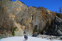 Hiking route to the gorge of the river White Irkut Stock Image