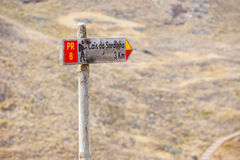Hiking route wooden sign, pointing to Ponta de Sao Lourenco Royalty Free Stock Images