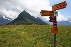 Hiking routes trails signs.  Hiking signpost high peak in Switzerland. Hiking routes trails signs, signpost at high mountain peak Männlichen in Switzerland Royalty Free Stock Images