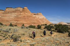 Hiking the Sandstone Cliffs of Utah Stock Photos