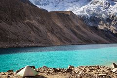 Hike in Peru. Hiking scene in Cordillera mountains, Peru royalty free stock images