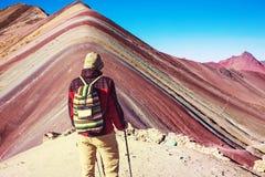 Rainbow mountain. Hiking scene in Vinicunca, Cusco Region, Peru. Montana de Siete Colores,  Rainbow Mountain Stock Photos
