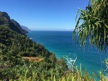 Hiking the scenic Kalalau Trail to the scenic Na Pali Coast in Kauai Hawaii Royalty Free Stock Photography