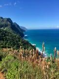 Hiking the scenic Kalalau Trail to the scenic Na Pali Coast in Kauai Hawaii Stock Photography
