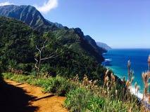 Hiking the scenic Kalalau Trail to the scenic Na Pali Coast in Kauai Hawaii Stock Photos