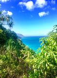 Hiking the scenic Kalalau Trail to the scenic Na Pali Coast in Kauai Hawaii Royalty Free Stock Photo