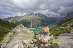 Hiking at Schlegeis stau area Stock Images