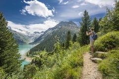 Hiking at Schlegeis stau area Stock Photos