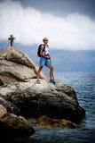 Hiking at sea Stock Image