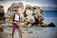 Hiking at sea Royalty Free Stock Image