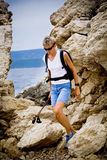 Hiking at sea Royalty Free Stock Images