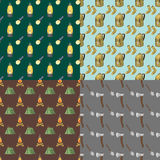 Hiking seamless pattern camping gear hike outdoor elements cartoon travel set vector illustration. Hiking seamless pattern camping equipment base camp gear and Stock Images