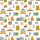 Hiking seamless pattern. With flat camping elements - car, tent, campfire, mountains, trees, camera, bagpack, map Vector Illustration