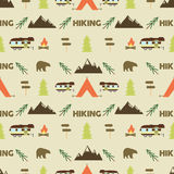 Hiking seamless pattern. Hiking trail seamless wallpaper design. Equipment for outdoor walking background for print. Hiking or gear rustic pattern- tent, rv Stock Illustration