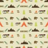 Hiking seamless pattern. Hiking trail seamless wallpaper design.  Royalty Free Stock Photo