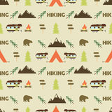 Hiking seamless pattern. trail wallpaper design. Equipment for outdoor walking background print. or gear rustic - tent Royalty Free Stock Image