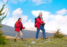 Hiking seniors 19. Seniorcouple hiking in the nature royalty free stock photos