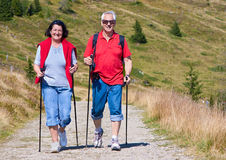 Hiking seniors 21. Seniorcouple hiking in the nature royalty free stock image