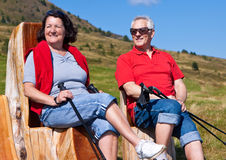 Hiking seniors 22. Seniorcouple hiking in the nature royalty free stock images