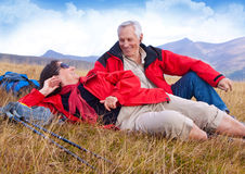 Hiking seniors 25. Seniorcouple hiking in the nature royalty free stock photography