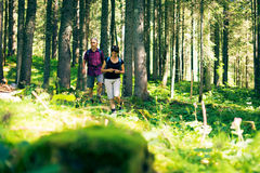 Hiking Seniors in the Forest. Hiking senior couple walking through a forest stock photos