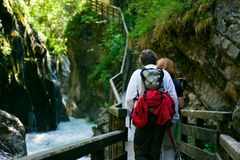 Hiking Seniors. A senior couple is hiking in berchtesgaden bavaria, germany royalty free stock photography