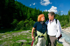 Hiking Seniors. A senior couple is hiking in berchtesgaden bavaria, germany royalty free stock images