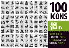 Hiking set black icons. signs and symbols Stock Image