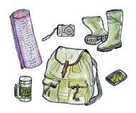Hiking set. Watercolor illustration. Isolated on white background Stock Photos