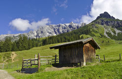 Hiking shack in the Alps. On the Highking Trail Royalty Free Stock Photos