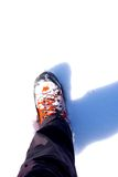 Hiking shoe. Picture of a hiking shoe in snow taken from above royalty free stock images