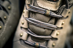 Hiking shoe details Royalty Free Stock Images