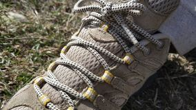 Hiking shoe laces. Adventure outdoor travel trek camp camping sole vibram stock photo
