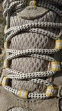 Hiking shoe laces. Adventure outdoor travel trek camp camping sole vibram royalty free stock images