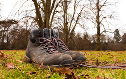 Hiking shoes. Pair of boots in countryside setting Stock Photos