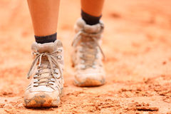 Free Hiking Shoes - Closeup Of Dirty Hiker Boots Stock Photos - 39316933