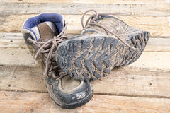 Hiking shoes dirty Royalty Free Stock Photos