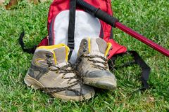Hiking shoes in the grass. Pair of hiking shoes in the grass Royalty Free Stock Photos